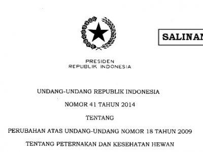 Perubahan Atas Undang-Undang Nomor 18 Tahun 2009 tentang Peternakan dan Kesehatan Hewan