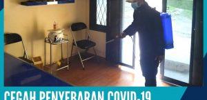 CEGAH PENYEBARAN COVID -19 DISNAKESWAN LAKUKAN DESINFEKSI LINGKUNGAN KANTOR