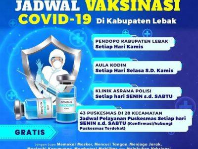JADWAL VAKSINASI COVID -19 DI KABUPATEN LEBAK